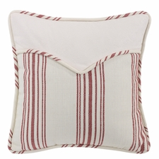 Bandera Red Striped Envelope Pillow With Faux Leather