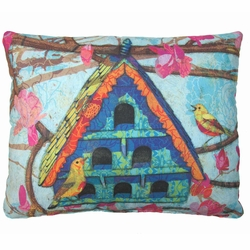 Birdhouse On A Branch Outdoor Pillow