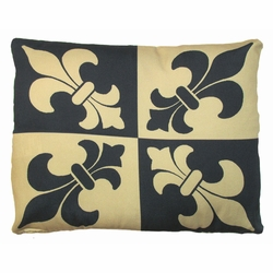 Black And Gold Fleur de lis Outdoor Pillow
