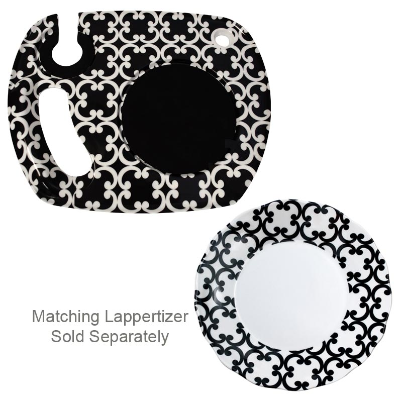 Black And White Scroll Plates Set Of Four Lapper Trays