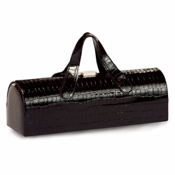 Black Croc Carlotta Clutch Wine Bottle Tote