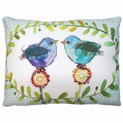 Blue Birds Outdoor Pillow