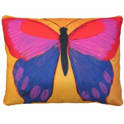 Butterfly on Yellow Outdoor Pillow