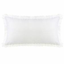 Charlotte Extra Long Off-White Linen and Off-White Lace Trim Pillow