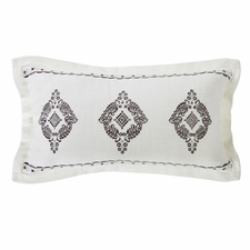 Charlotte Oblong Grey Embroidered Lace Design Pillow with Flange
