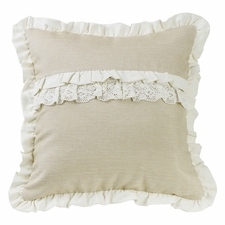 Charlotte Ruffle Trim and Lace/Ruffle Accent Pillow