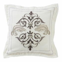 Charlotte Square Outlined Embroidered Design Pillow with Flange