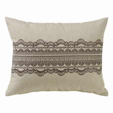 Charlotte Tan Burlap with Grey Scallop Lace Design Pillow