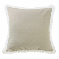 Charlotte Tan Burlap with Off-White Lace Trim Square Pillow