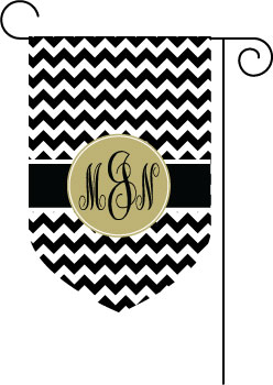 Chevron Black and Khaki Monogram Garden Flag