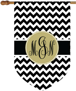 Chevron Black and Khaki Monogram House Flag