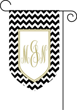Chevron Black and Khaki Shield Monogrammed Garden Flag