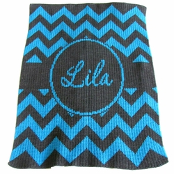 Chevron with Banner Baby Blanket