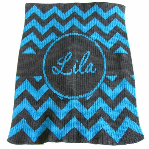 Butterscotch Blankees Chevron With Banner Personalized Throw Blanket