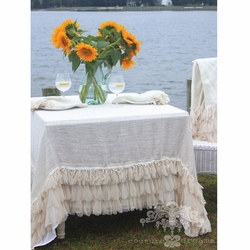 Chichi Ivory Petal and Ivory Linen Square Tablecloth