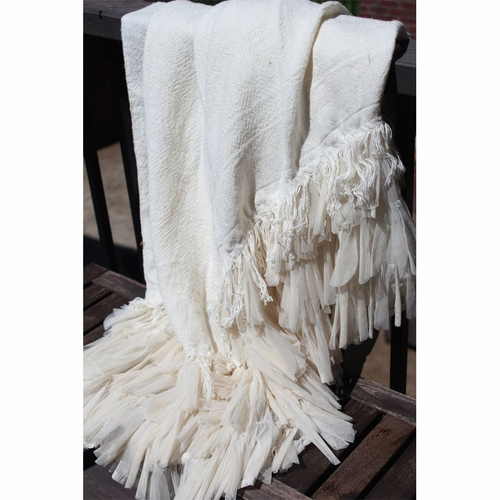 couture dreams  chichi ivory petal and ivory linen throw