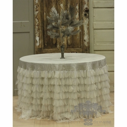 Chichi Ivory Petal with Ivory Shimmer Tablecloth