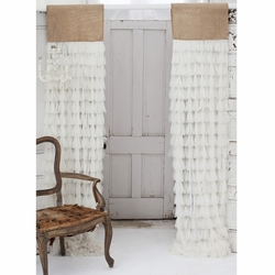 Chichi Ivory Petal with Natural Jute Header Window Curtain
