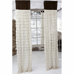 Chichi Ivory Petal with Soft Earth Velvet Header Window Panel