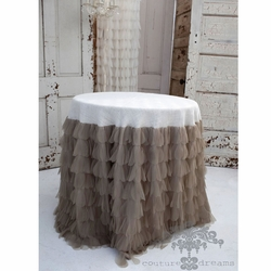"Chichi Sable Petal with Ivory Jute 30"" Tablecloth"