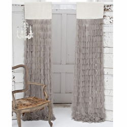 Chichi Sable Petal with Ivory Jute Header Window Curtain