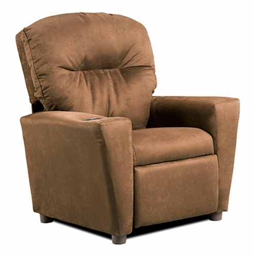 Merveilleux Chocolate Suede Kids Recliner Chair