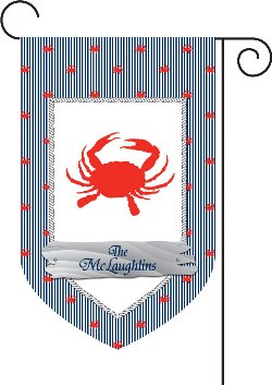 Crab Monogram Garden Flags