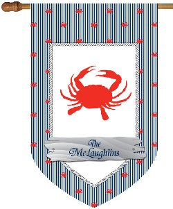 Crab Monogram House Flags