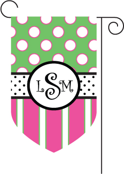 Dots and Stripes Monogrammed Garden Flags