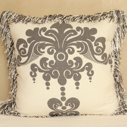 Enchantique Dark Grey Decorative Pillow with Multi Colored Fringe