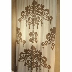 Enchantique Ivory Window Curtain with Sand Print