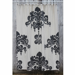 Enchantique Ivory with Dark Grey Print Shower Curtain