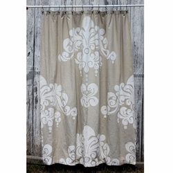 Enchantique Natural with White Print Shower Curtain