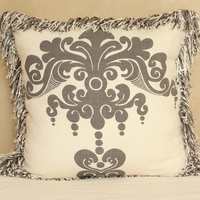 Enchantique Platinum Decorative Pillow with Ivory Fringe