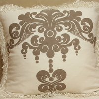 Enchantique Sable Decorative Pillow with Ivory Fringe