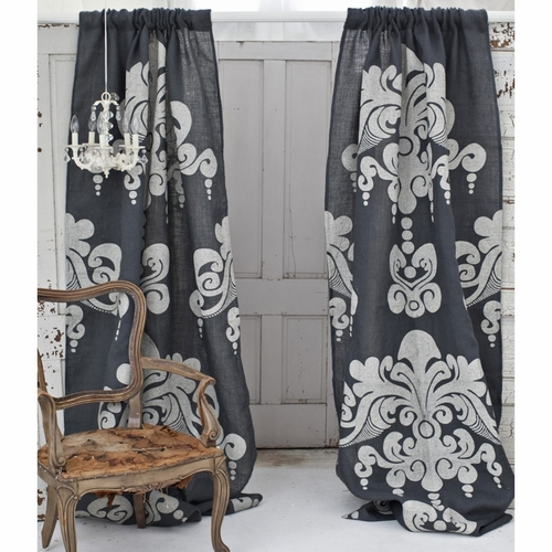 Enchantique Slate Grey Jute Window Curtain
