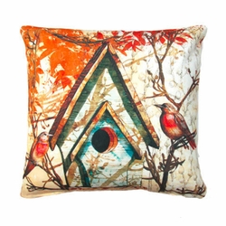 Fall Birdhouse Outdoor Pillow