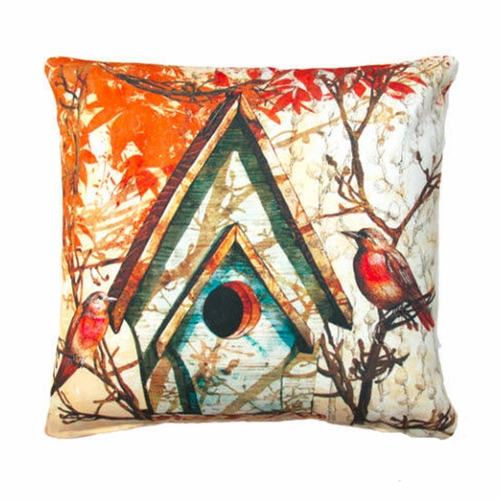Fall Birdhouse Outdoor Throw Pillow
