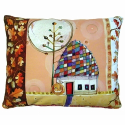 Fall House Outdoor Pillow
