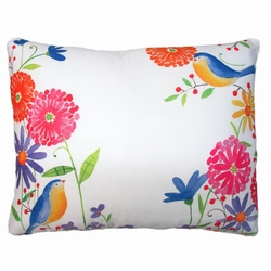 Flowers And Birds Outdoor Pillow