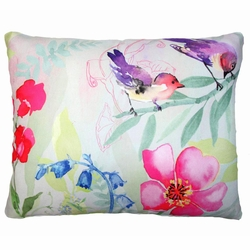 Flowers And Purple Birds Outdoor Pillow
