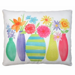 Flowers In Vases Outdoor Pillow
