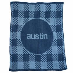 Gingham and Name Blanket