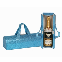 Glitter Turquoise Carlotta Clutch Wine Bottle Tote