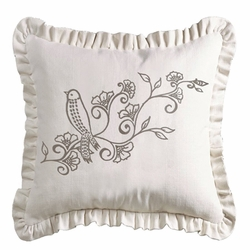 Gramercy Embroidered White Ruffled Accent Pillow
