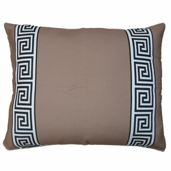 Greek Key Brown Outdoor Pillow