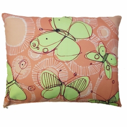 Green Butterflies Outdoor Pillow