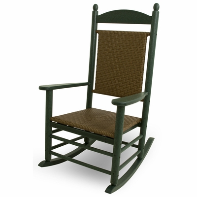 Awesome Green Polywood Jefferson Woven Rocking Chair Ocoug Best Dining Table And Chair Ideas Images Ocougorg