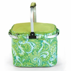 Green Paisley Collapsible Market Tote