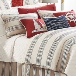 3 pc Navy Prescott Stripe Duvet Set